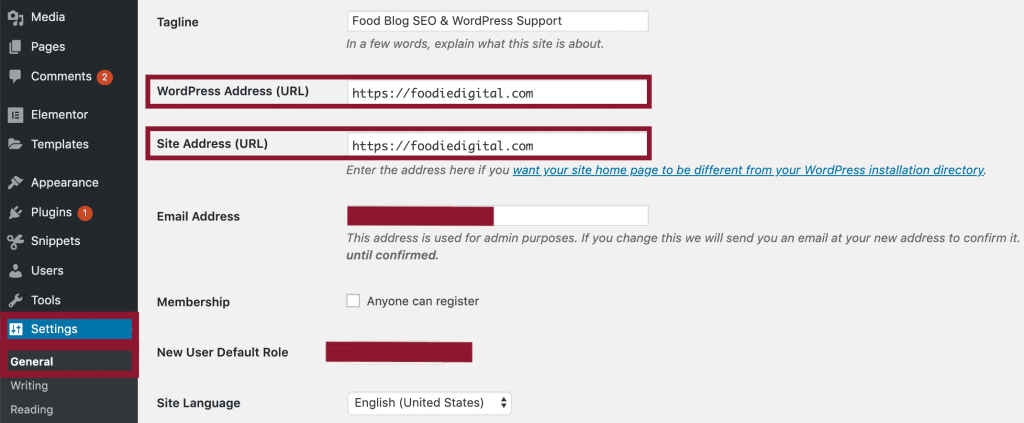 A screen capture of WordPress' back-end demonstrating how to Settings, General.