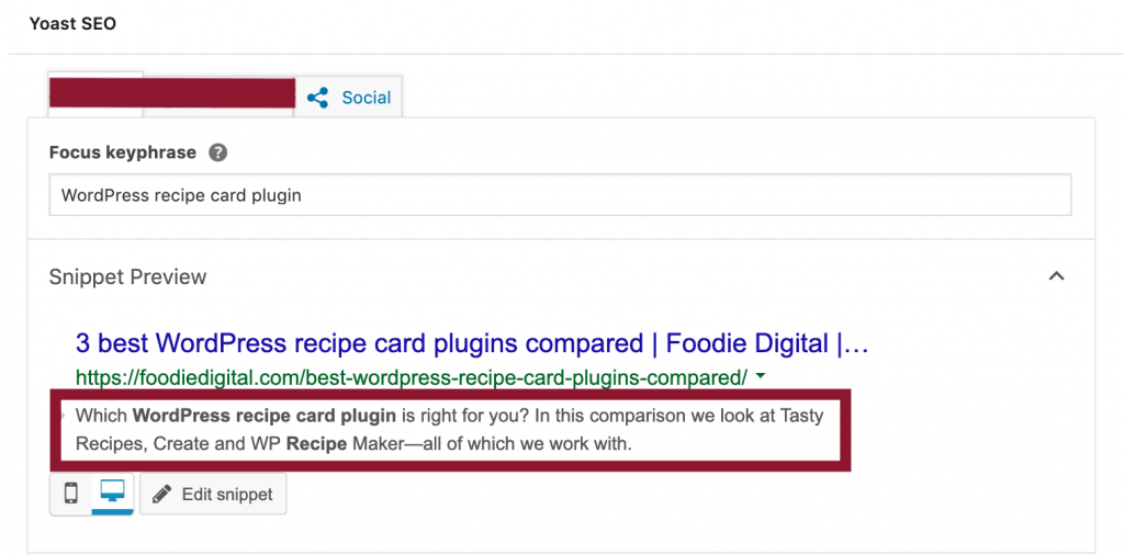 A screen capture of Yoast SEO in WordPress' back-end demonstrating how to complete the meta description field for a food blog.