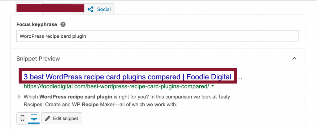 A screen capture of Yoast SEO in WordPress' back-end demonstrating how to complete SEO title field for a food blog.