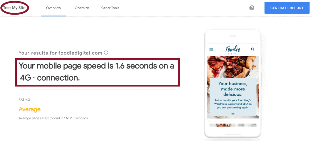 A screengrab of Foodie Digital's mobile page speed which is 1.6 seconds taken from Google's free Test My Site tool.