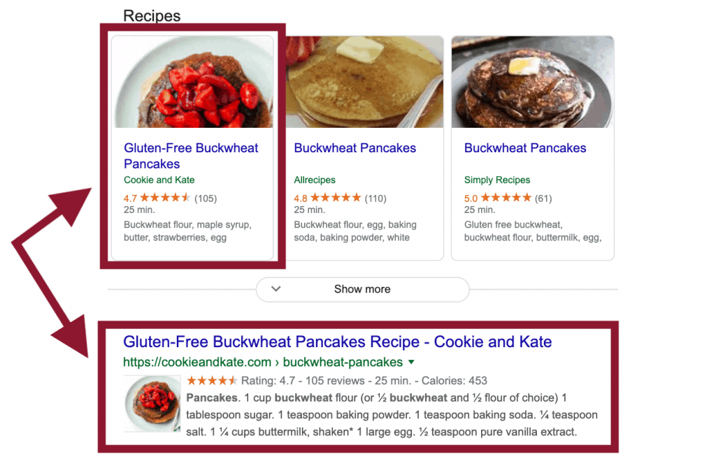 Screengrab of a recipe rich snippet for buckwheat pancakes in Google's search results.
