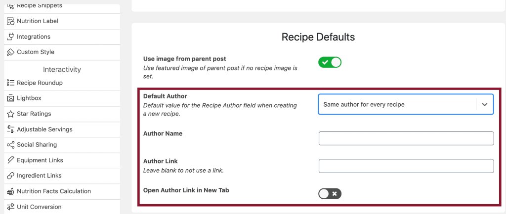 Screenshot shot of the WP Recipe Maker plugin showing where in the plugin's setting you can include an author name and internal link by default.