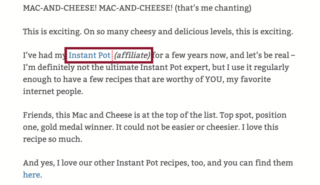 Screenshot of affiliate link notice from Pinch of Yum, the food blog