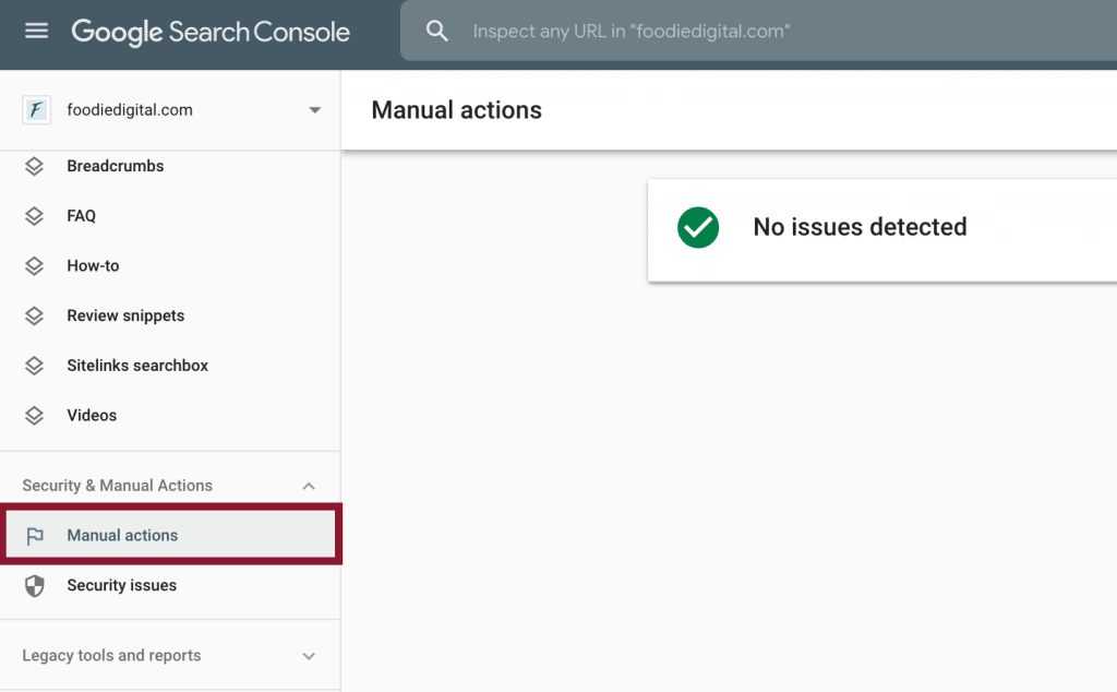 Screenshot of Foodie Digital's search console account showing where to find manual actions