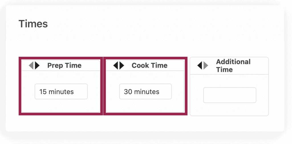 Screenshot of the prep time and cook time fields in Create by Mediavine's back-end