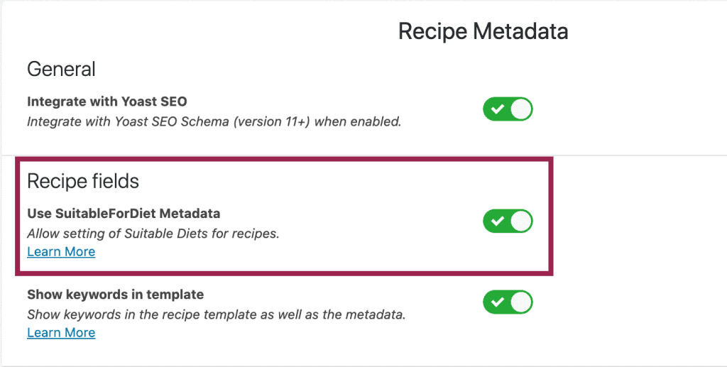 Screenshot of WP recipe maker for suitable diet meta data field in the plugin's settings