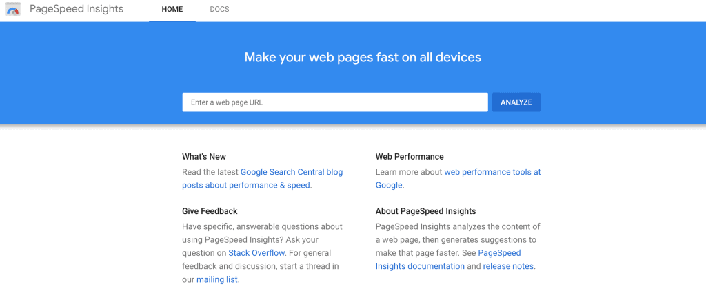 Screenshot of PageSpeed Insights homepage