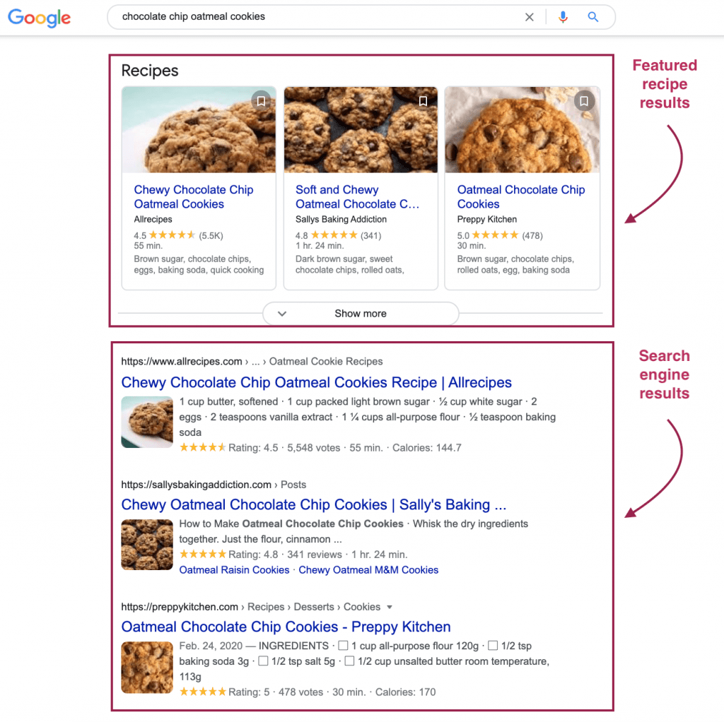 Screenshot of Google's search engine results and featured recipe results.